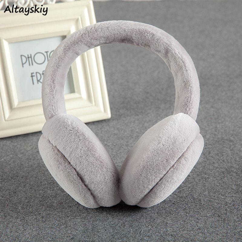 Earmuffs Women Winter Faux Fur Warm Folding Couples Earmuff Korean Students Solid Simple Harajuku Adjustable Womens High Quality