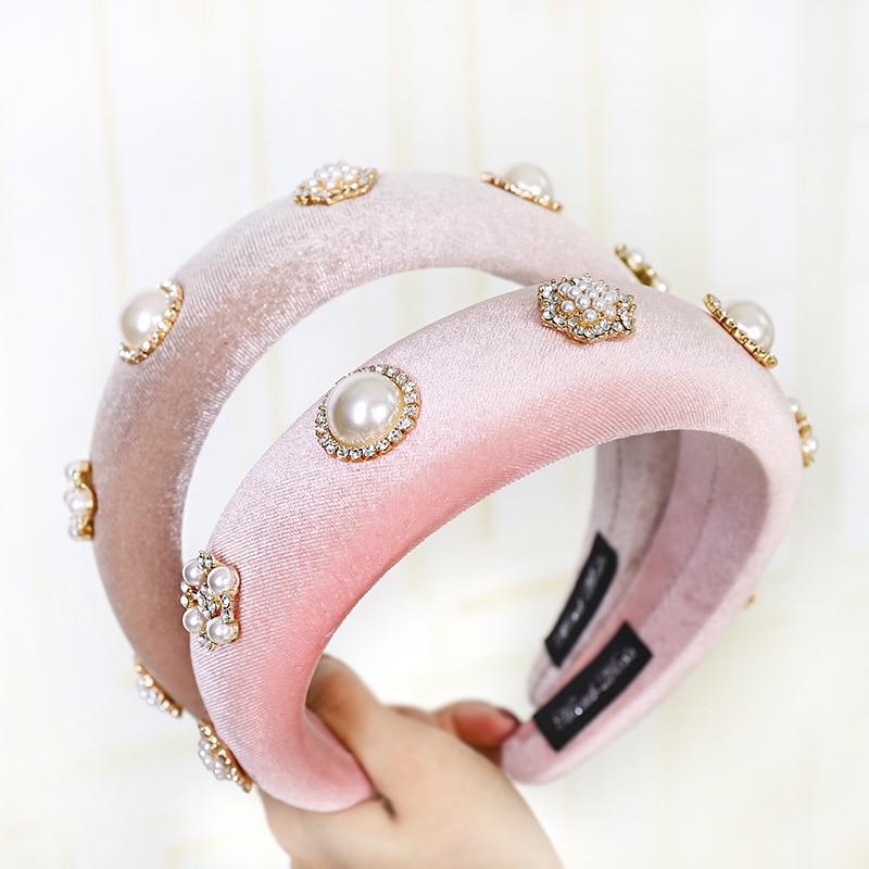 Samt Perle Strass Padded Stirnband für Frauen Einfarbig Schwamm Kristall Haarband Frauen Haar Zubehör Haar Band