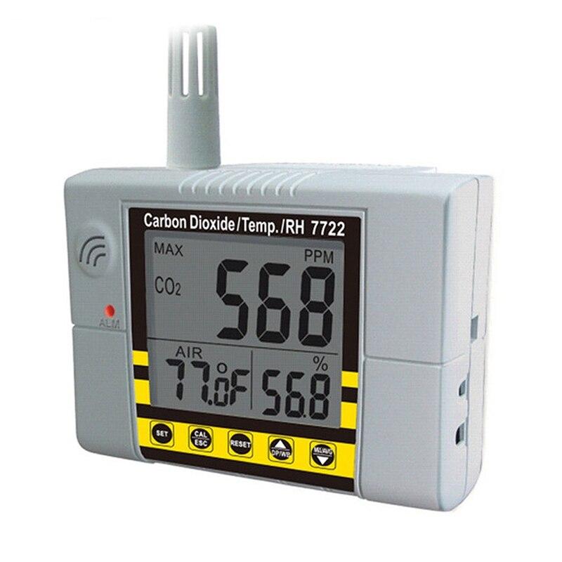 Detector de Gas estadounidense Az7722 Co2 con prueba de temperatura y humedad con controlador de salida de alarma integrado relé Control ventilación S