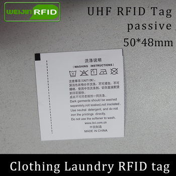 UHF RFID laundry tag printable Washable clothing 50x48 915 868 860-960M Impinj Monza R6 EPC Gen2 6C smart card passive RFID tags image