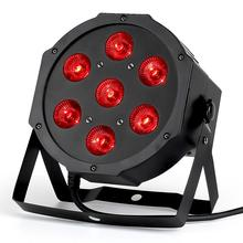 LED Par Stage RGBWA UV Rgbw 4in1 5in1 6in1ไฟDJ DMX 7X12W 7X18W 7X15W LEDแบนSlimPar Quad Light No Noise