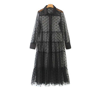 Hirigin-Vestido camisero transparente con estampado de lunares para mujer, Vestido camisero de...