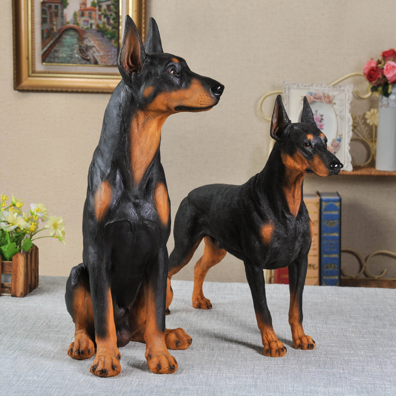 Original Simulation Animal Hunting Dog Dobermann Resin Art&Craft Statue Creative Living Room Entryway Wolf Dog Decorations X3947