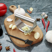 Full Set Stainless Steel Garlic Press With Brush Garlic Crusher Manual Garlic Chopper Kitchen Tools Accessory Garlic Grinder