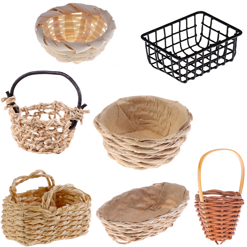 Mini 1/12 Cute Dollhouse Rattan Iron Frame Frame Hand-woven Vegetable Food Storage Basket Dolls Miniature Decoration