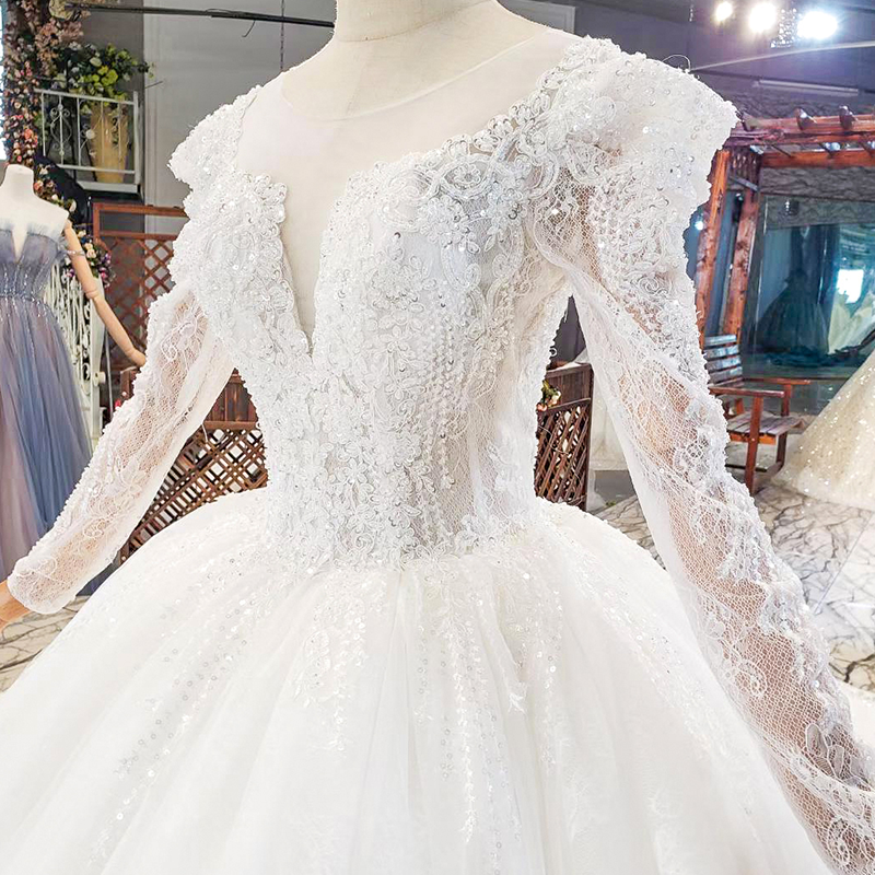 HTL1821 Luxurious Sequined Beading Crystal Fiowers White Wedding Dress 2020 V-Neck Long Sleeve Ball Gowns 6