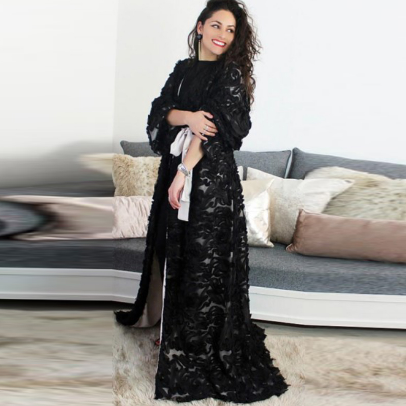 Black Open Abaya Kimono Turkish Hijab Muslim Dress Abayas For Women Caftan Dubai Kaftan Islamic Clothing Robe Musulmane Femme