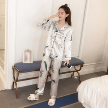 Simulation silk pajamas small turndown long-sleeved trousers two-piece ladies floral printing home service sleepwear sets