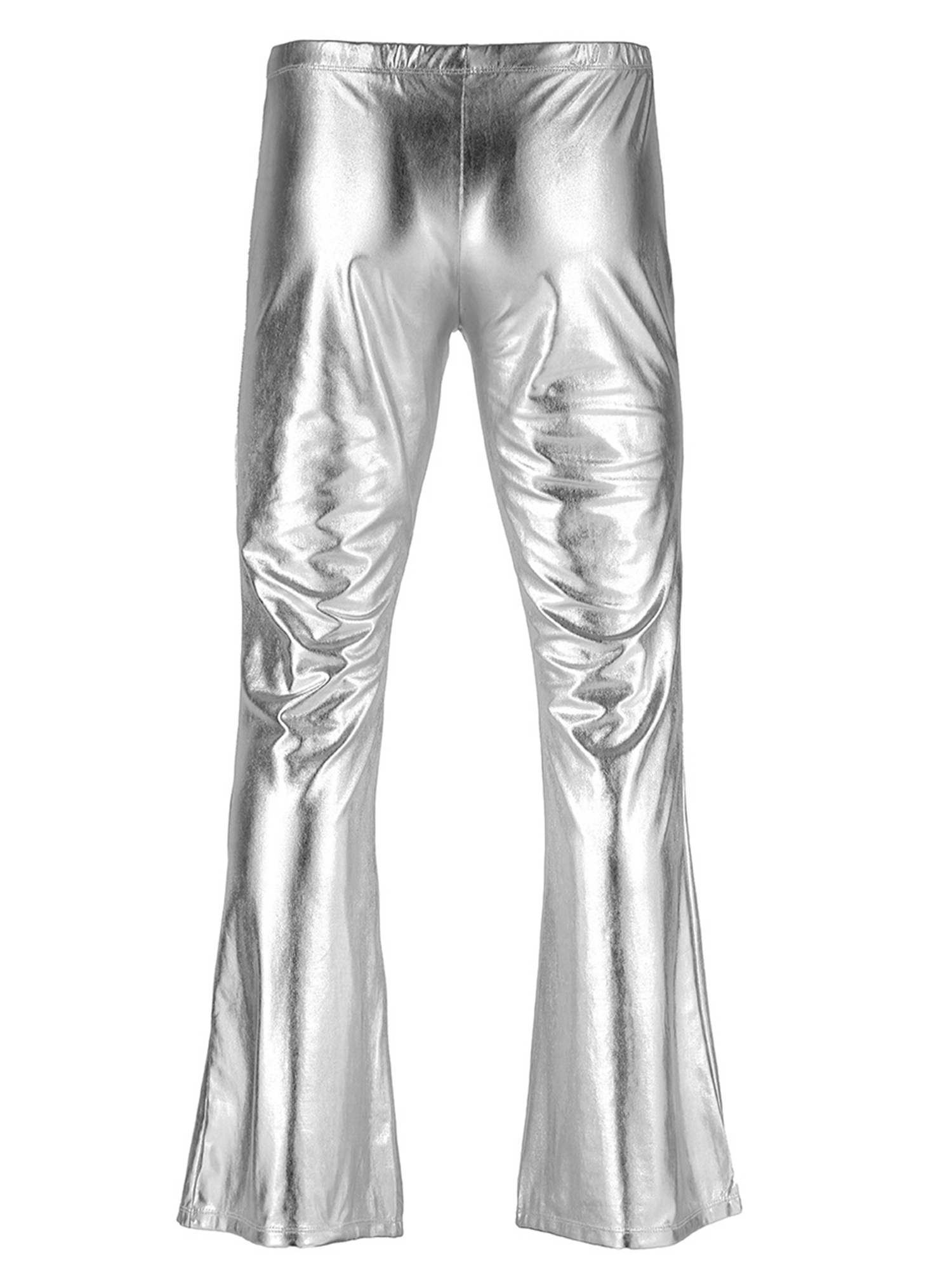 ChicTry Adults Mens Shiny Metallic Disco Pants with Bell Bottom Flared Long Pants Dude Costume Trousers for 70's Theme Parties 48