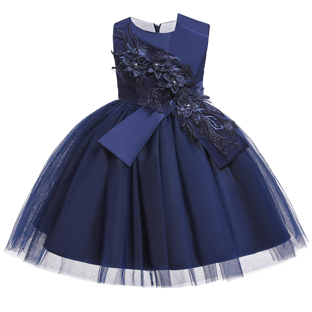 New Ballgwon Navy Blue  Appliques Birthday Party Dresses Short Tulle  Little Kids Dresses For Wedding Party In Stock