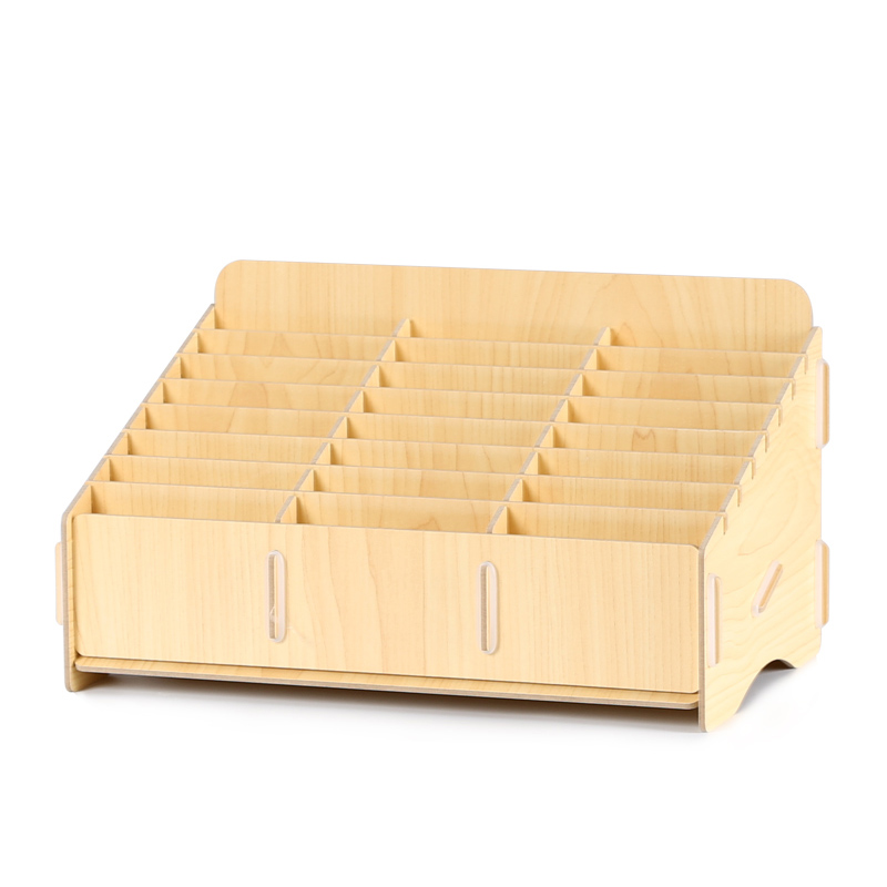 Desktop Wooden Phone Storage Box LCD Screen Management Storage Organizer Office School Wooden Pallets Tools Boxes