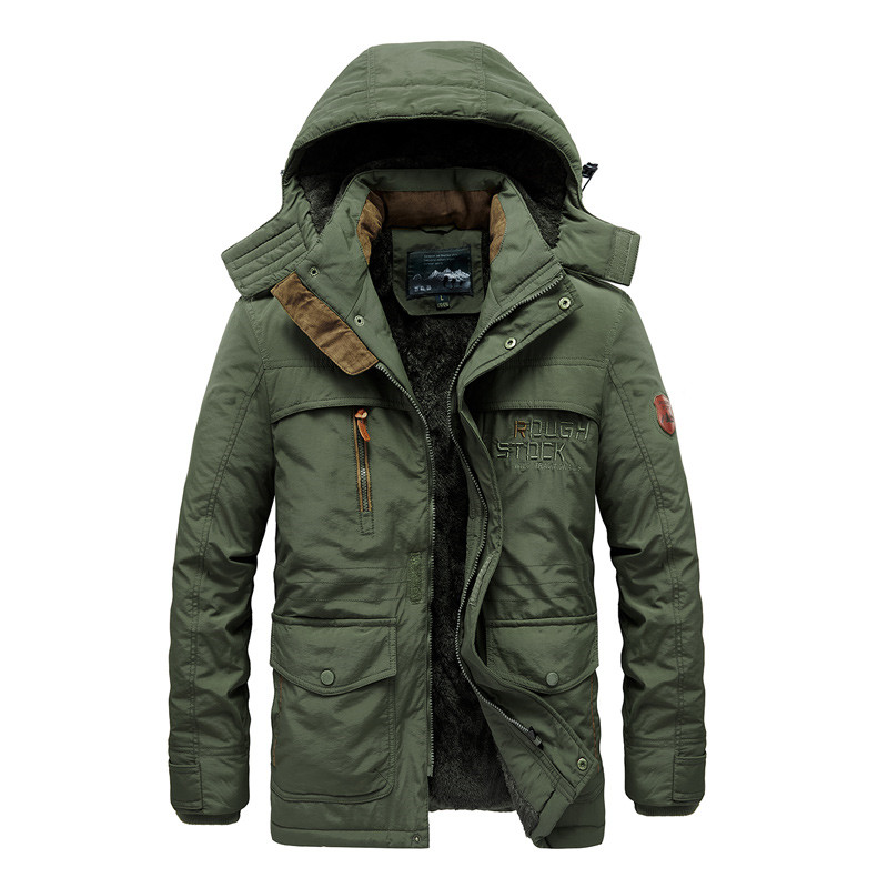 Hooded Coat Clothing Winter Jacket Parka Men Plus-Size Outerwear Padded Warm Thick Multi-Pocket