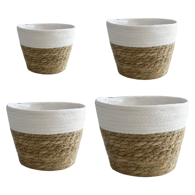 Nordic Handmade Straw Basket Laundry Picnic Toy Storage Macrame Woven Flower Pot Plant Container Home Decoration