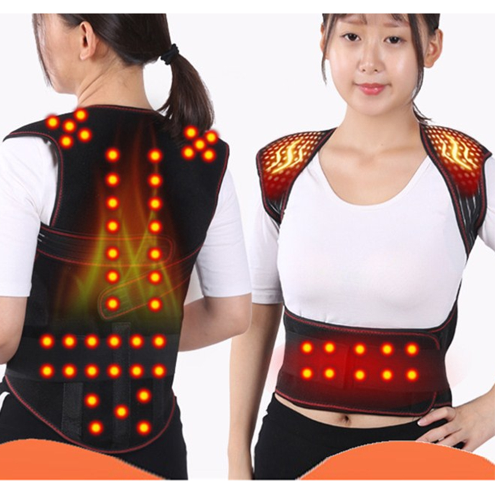 Tourmaline Self-heating 62 Magnetic Therapy Back Support Belt Corset Posture Corrector Spine Shoulder Lumbar Posture Correction