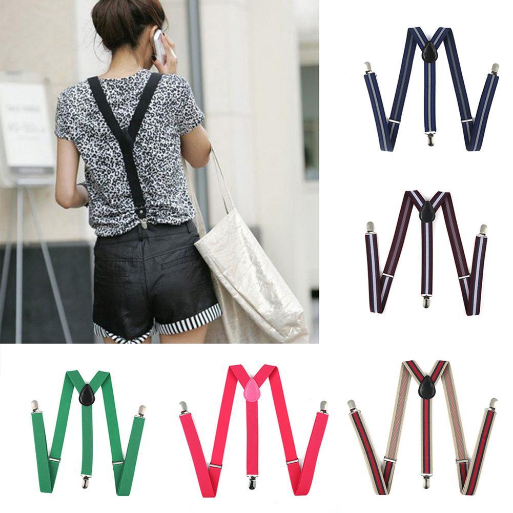 New Elastic Y-Shape Braces Men\'s Women\'s Solid Color/Stripe Adjustable Suspenders Free Shipping Fashion