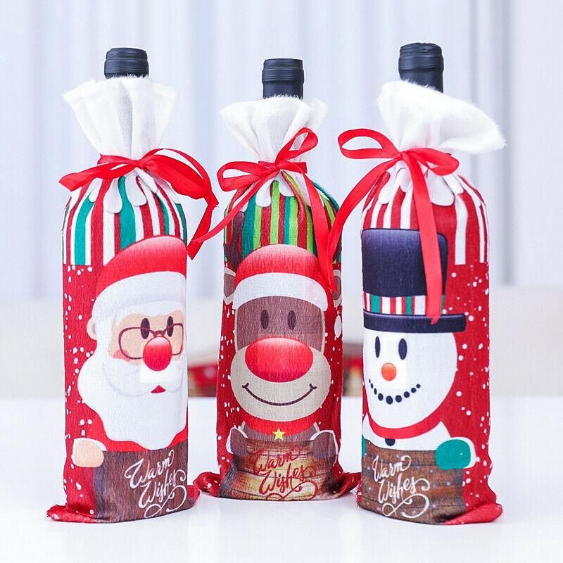 5pcs Santa Pants Christmas Candy Bags Wine Stocking Bottle Gift Bag Xmas Decor