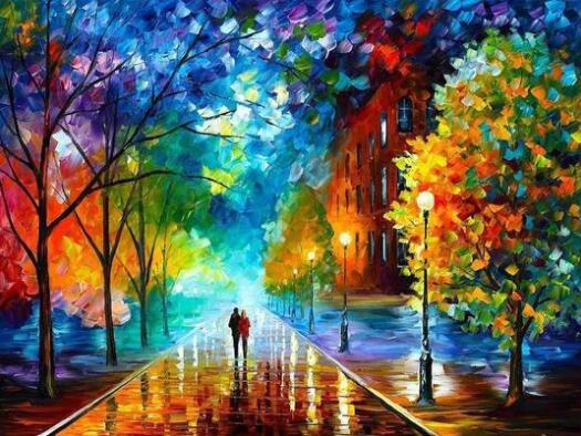Lovers Walk On The Street Adult Paint By Numbers Kits For Adults DIY Landscape Coloring For Children Oil Painting By Numbers