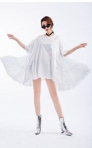 Image 4 - [EAM] 2020 Neue Frühling Sommer Rundhals Halbe Hülse Schwarz Lose Große Größe Rüschen Plissee Stich Kleid Frauen mode Flut JS791