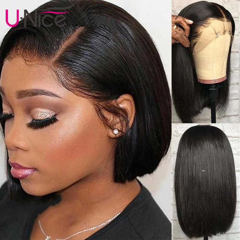 Image 3 - Unice Hair 13*4/6 Lace Front Human Hair Wigs Wigs 8 14 Inch Straight Short Blunt Cut Bob For Black Women Brazilian Remy Hair-in Lace Front Wigs from Hair Extensions & Wigs