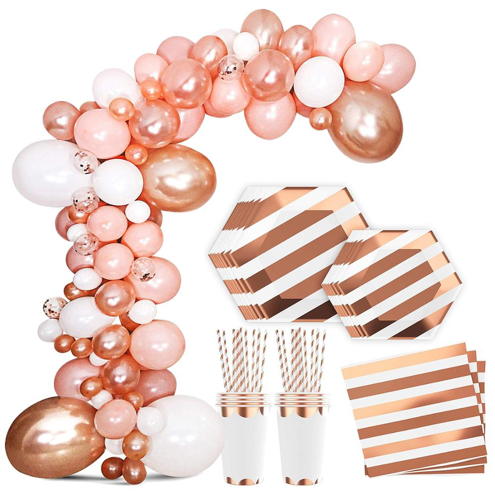 Pink Rose Gold Theme Party Disposable Tableware Paper Plate Cups Straws Birthday Valentine S Day Party Wedding Decor Supplies Leather Bag