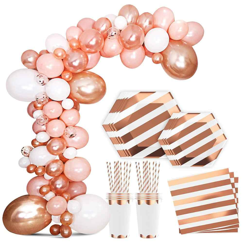 Rose Gold Pink Bachelorette Party Supplies Decorations Kit Balloons cups straw