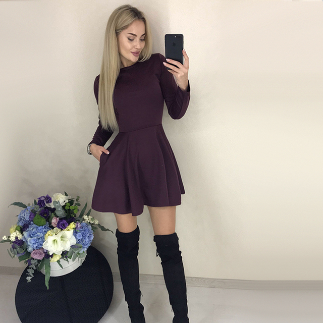Autumn Long Sleeve Sexy a Line Party Dress Ladies Office Work Basic Shirt Dress 2019 Fashion Elegant Mini Dress Winter Vestidos 1