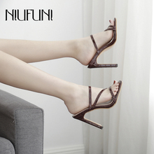 Plus Size 35-42 Square Toe Shallow Solid Color Women's Sandals Slippers Casual High Heels Ladies Slides NIUFUNI Women's Shoes