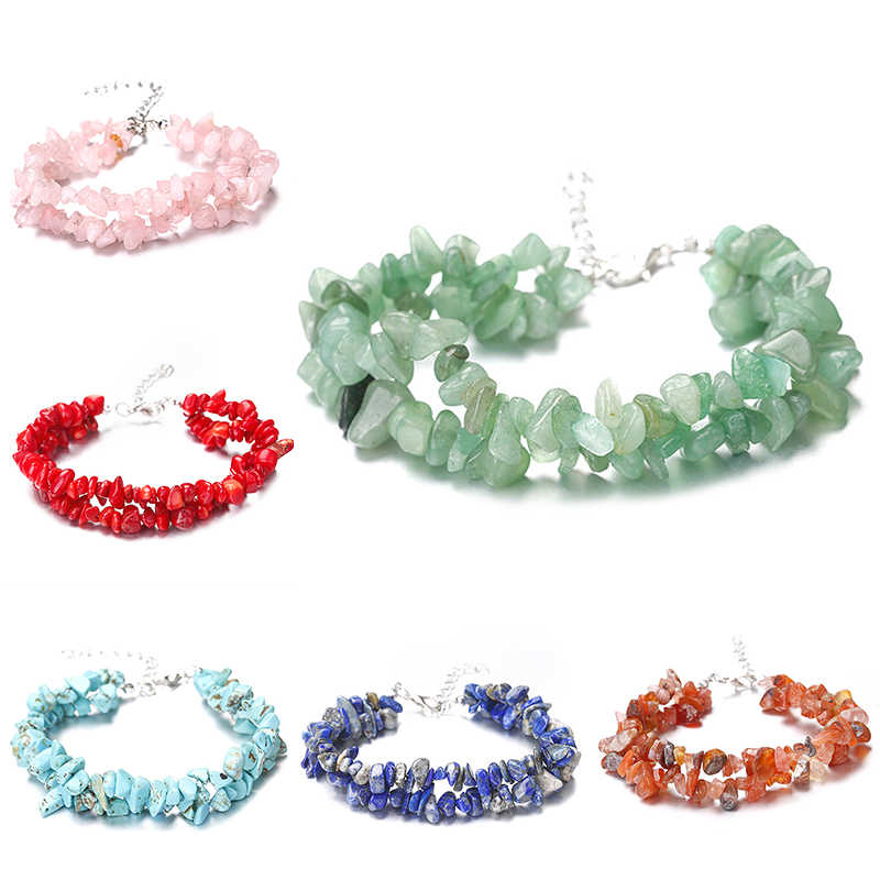Alami Buatan Tangan Kristal Kerikil Manik-manik Gelang Batu Alam Manik-manik Keripik Manik-manik Tidak Teratur untuk Perhiasan Aksesoris
