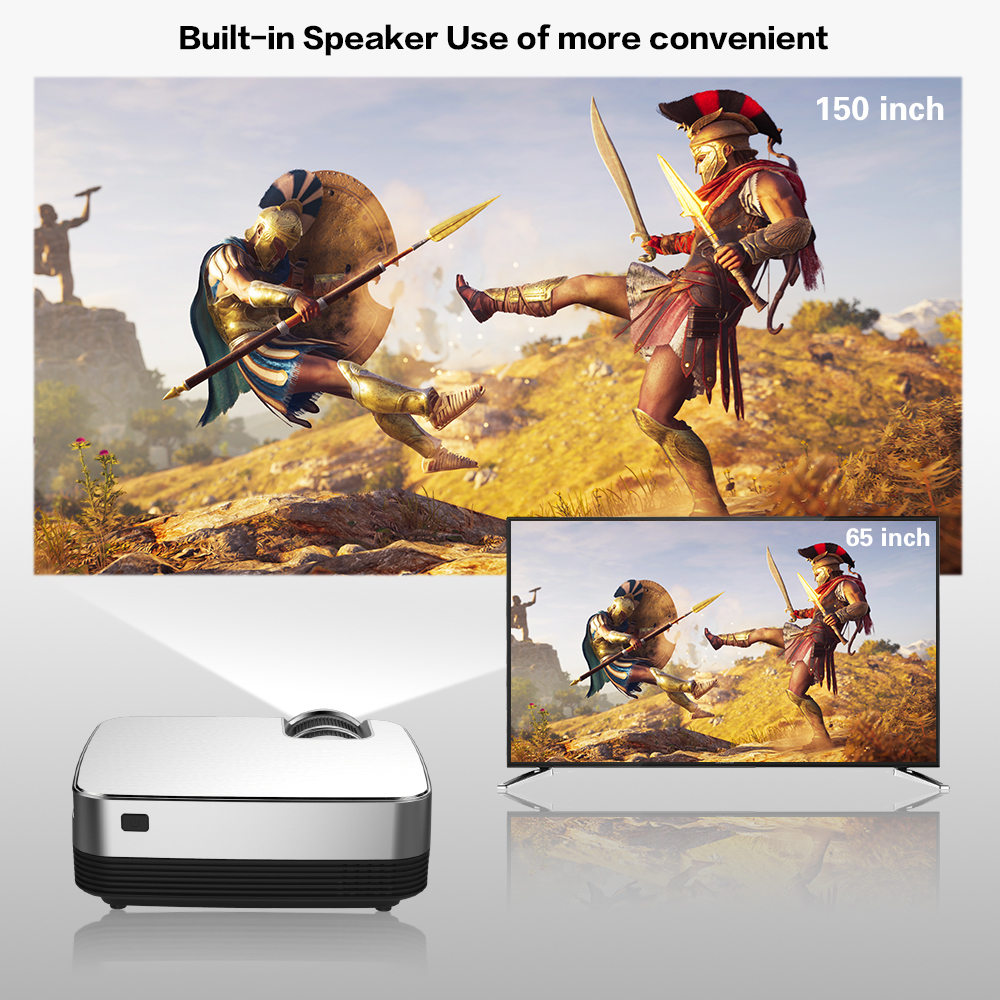 lowest price CRENOVA Hot Sale Android Video Projector Q6 1280 720P Native Resolution With Android 8 0 WIFI Bluetooth Home Cinema Movie Beamer