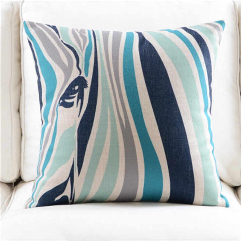 Hayvanlar Zebra renk geometrik atmak yastık kılıfı pamuk keten yastık örtüsü kanepe ev dekor için Capa De Almofadas 45x45cm