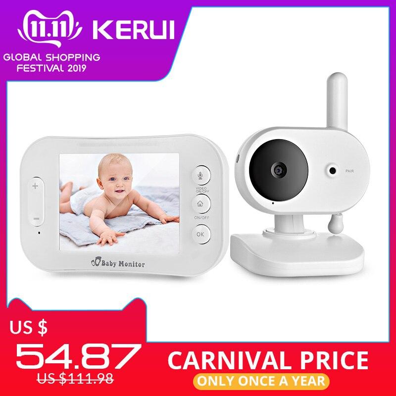 KERUI 3.5 Inch Wireless Video Color Baby Monitor Music Baby Security Camera 2 Way Audio Talk Night Vision Temperature Babysitter