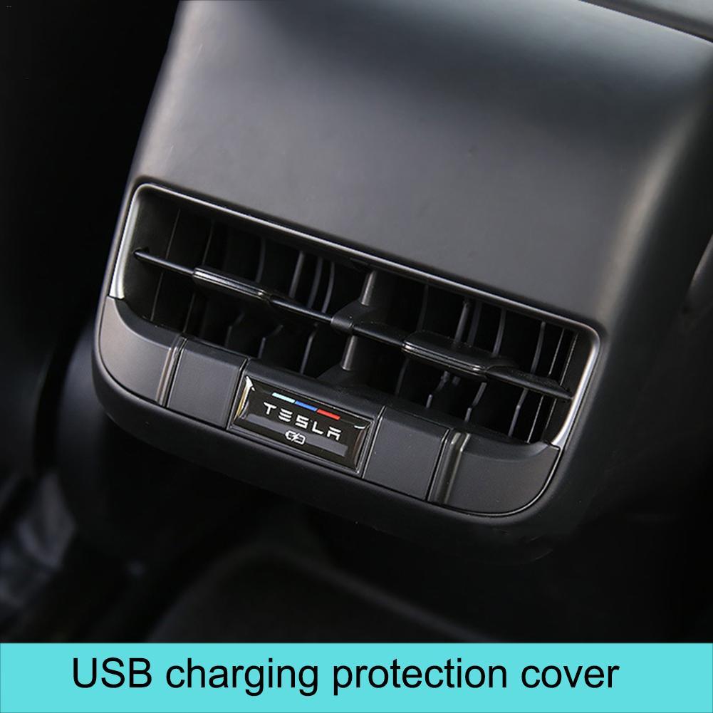 Cargador USB salida de aire trasera para Tesla modelo 3 salida de aire de escape trasera cubierta de protección de carga USB enchufe impermeable para coche