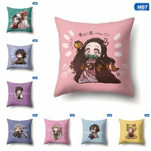 Japanese Anime Demon Slayer Cushion Cover Home Decorative Pillow Case Decorativos Sofa Pillow Cover 45*45cm(China)
