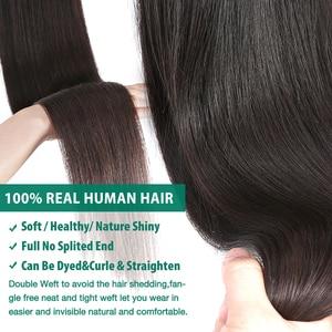Image 4 - RosaBeauty 28 30 32 40 Inch اللون الطبيعي ضفيرة شعر برازيلي 1 3 4 حزم مستقيم 100% ريمي شعر مستعار بشري لحمة صفقات