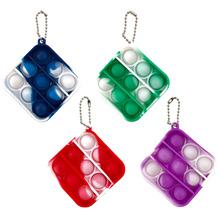 Mini Push Pop Bubble zabawka sensoryczna lęk zabawka Squishy Stress Reliever zabawki dorosłe dziecko śmieszne antystresowe Pop It Fidget brelok tanie tanio CN (pochodzenie) Bubble Keychain Toy Safe 2-4 lata 5-7 lat STARSZE DZIECI Silicone