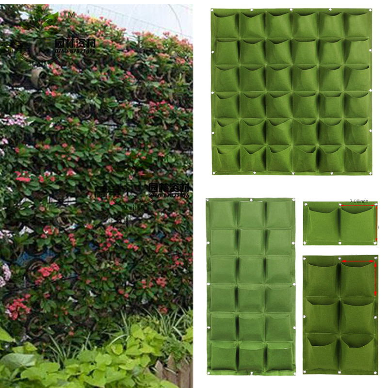 Wall Seedling Grow Bags Pocket Vertical Garden Planting Hanging Home Tools Fabric Seedsplants Vegetable Jardin Growing Pots