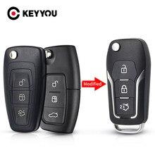 KEYYOU-Funda de llave remota modificada para Ford, carcasa de llave inteligente reemplazable de 3 botones para Ford Focus C max Mondeo Connect, Fiesta HU101