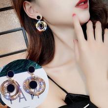 Multi-layer Diamond-studded Metal Circle Temperament Earrings Fairy Essential Japanese and Korean New Symmetrical Star