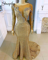 Luxury Long Evening Dresses 2020 Mermaid Long Sleeve Beaded African Women Gold Sequin Formal Evening Gowns