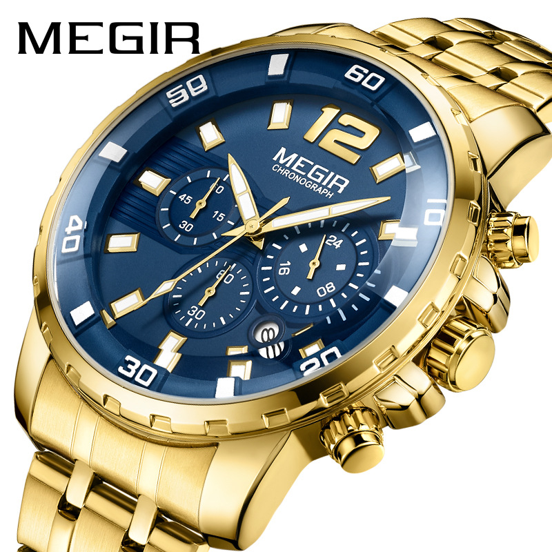 <font><b>Megir</b></font> Men's Gold Stainless Steel Quartz Watches Business Chronograph Analgue Wristwatch for Man Waterproof Luminous image