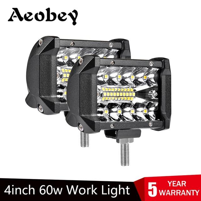Aeobey barre de lumière LED 4 pouces 60W étanche barre de lumière de travail faisceau dinondation pour le travail conduite Offroad bateau voiture tracteur camion SUV
