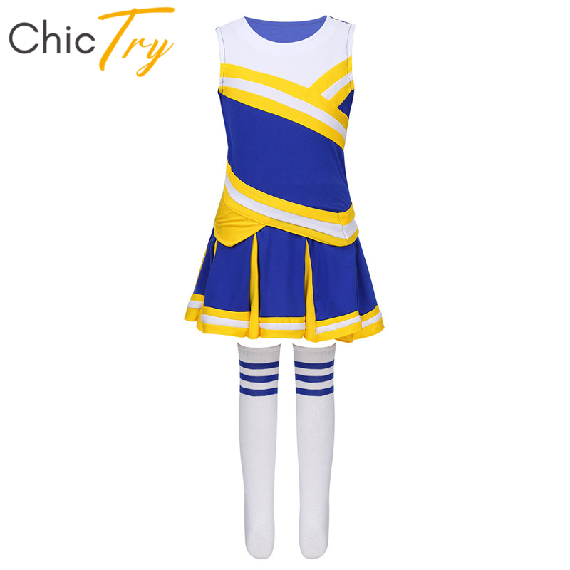 ChicTry Kids Teens Cheerleading Uniform Tops With Pleated Skirt Socks Outfit School Girls Stage Performance Jazz Dance Costume