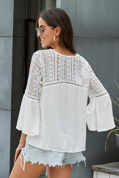 White Flare Sleeve lace Women blouse Halal City Mart