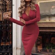 CUPSHE Elegant Red Women High Waist Bodycon Dress 2019 New Fashion Clubwear Sexy V  neck Wrap Sheath Long Sleeves Slim Bodycon недорго, оригинальная цена