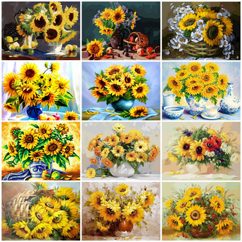 HUACAN DIY Pictures By Number Drawing On Canvas Hand Painted Painting Flowers Paint By Numbers Sunflower Art Kits Home Decor
