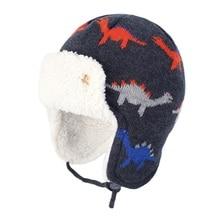 Connectyle 유아 유아 소년 소녀 어린이 겨울 해골 모자 귀여운 만화 면화 양털 안감 Windproof Earflap 따뜻한 모자