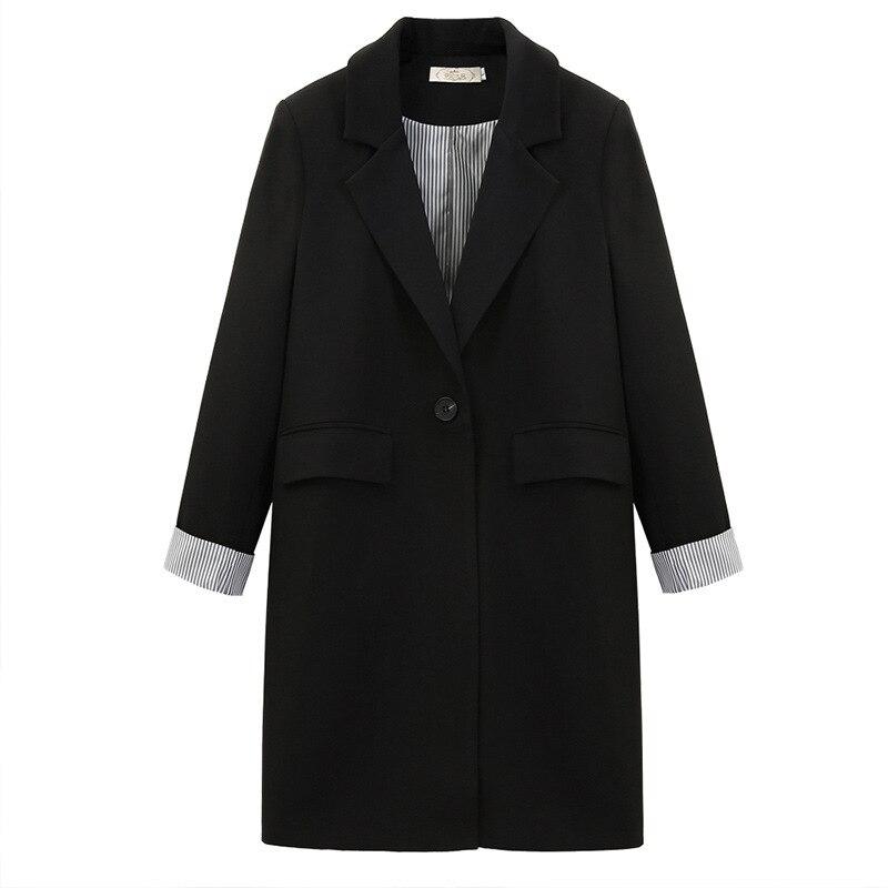 Large size women's L-5XL temperament women's jacket Autumn and winter high quality black ladies blazer Mid-length suit Female