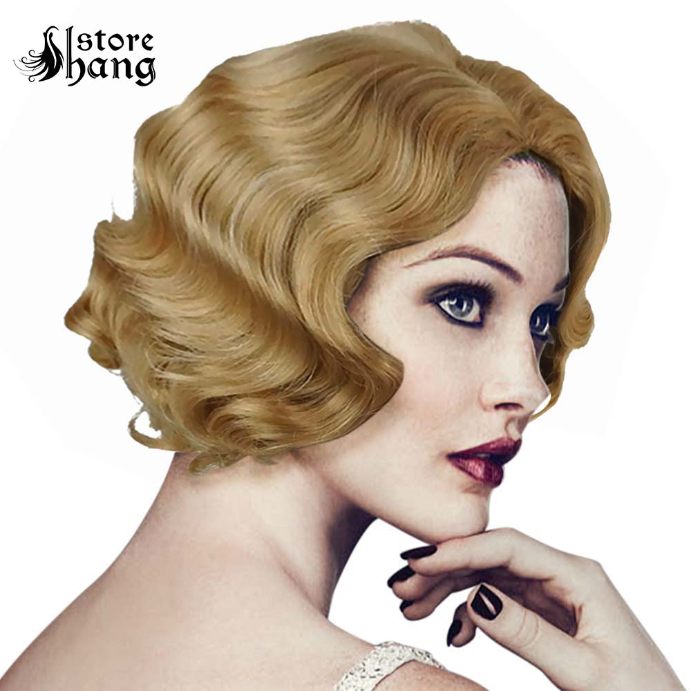 Us 27 19 20 Off Ladies 1920s Vintage Wig Short Curly Flapper Wig Headwear Marilyn Monroe Wig Hair Womens Party Fancy Dress Costume Accessories In