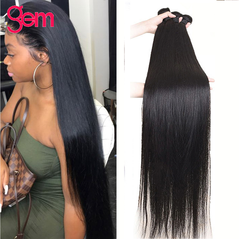 Straight Human Hair Weave Bundles 8 - 30 inch Peruvian GEM Hair Human Hair Weave Bundles Natural Color Remy Hair Extensions