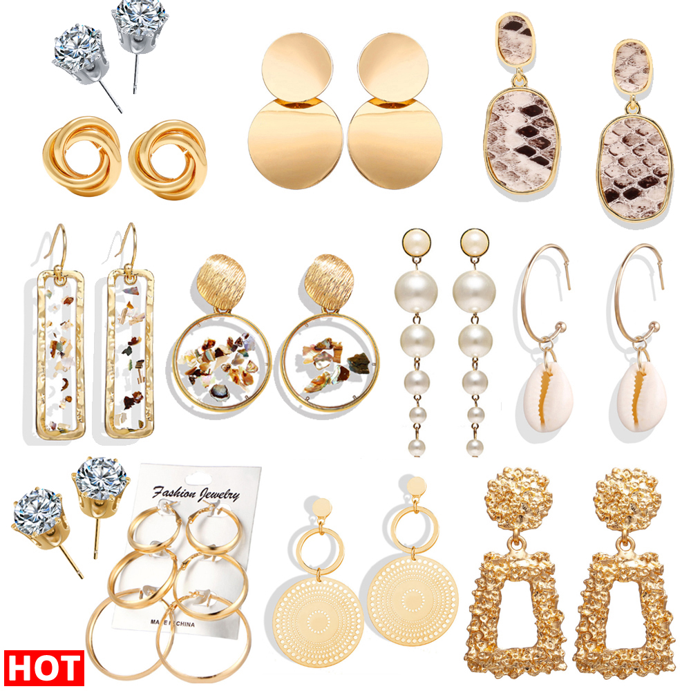 2019 Fashion Earrings Gold Drop Earrings For Women Round Shell